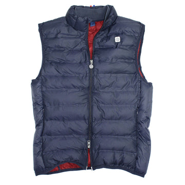 navy quilted down zip vest