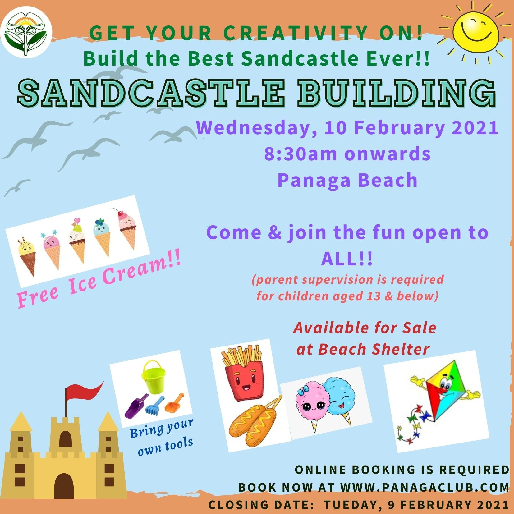 Come & Join the Fun at Sandcastle Building!! 10/2/2021 @ 8.30am
