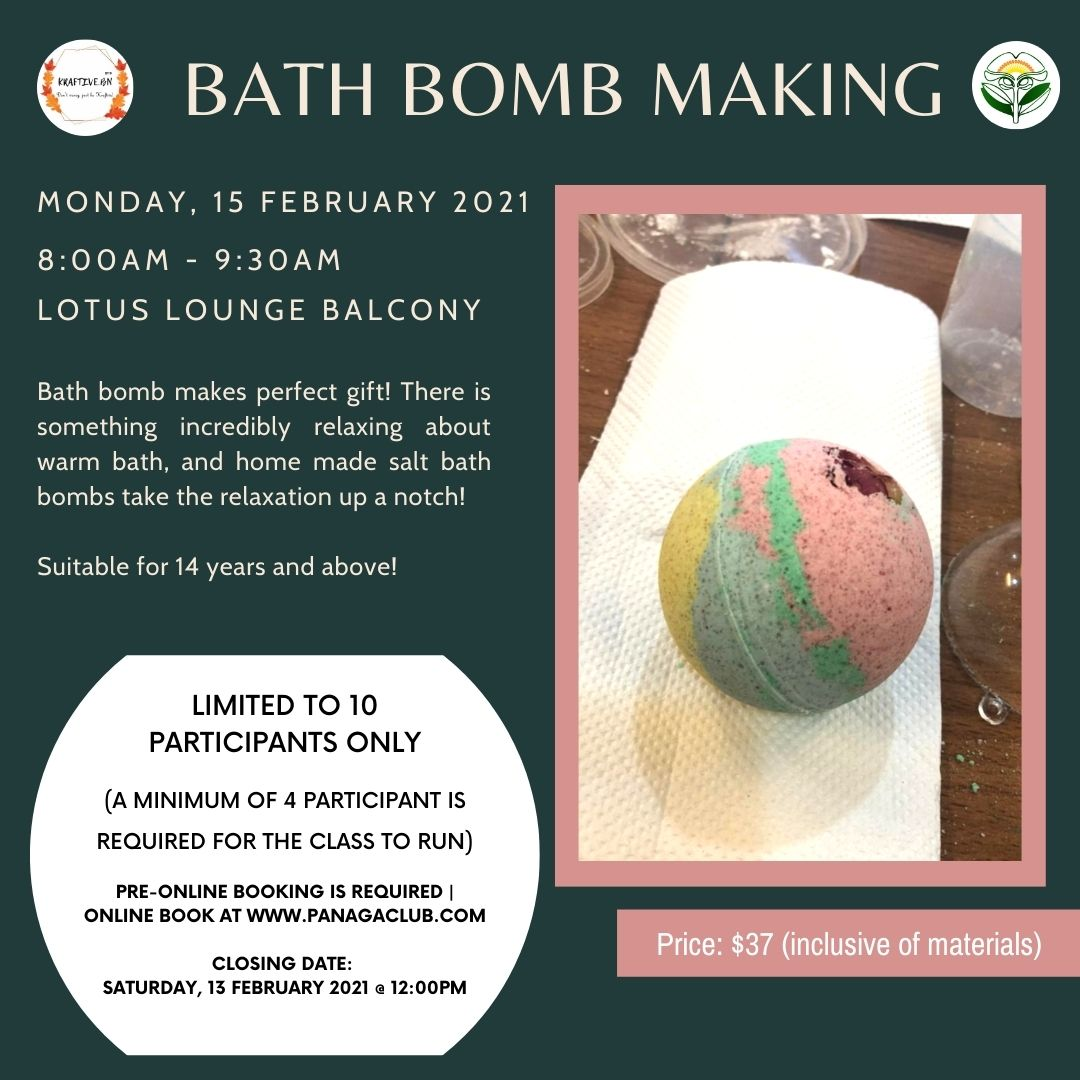 Bath Bomb Making (Aged 14 & above) - 15/2/2021 at Lotus Lounge Balcony