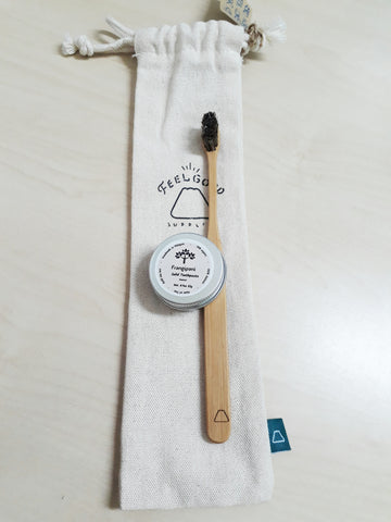 Toothbrush (Bamboo) Set with Linen Pouch (Oral Care Starter Kit)