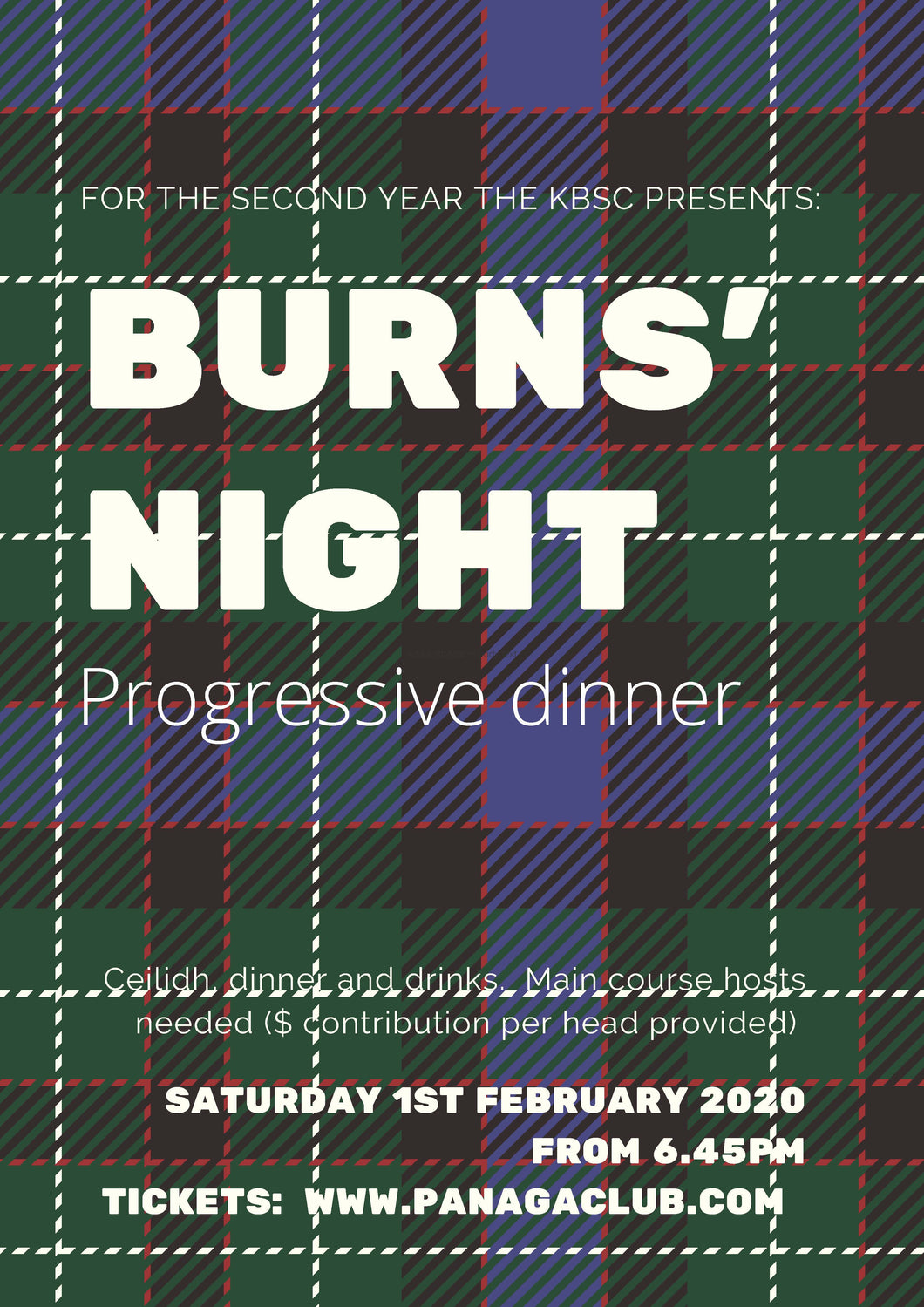 Burns Night Progressive Dinner 1 February 2020