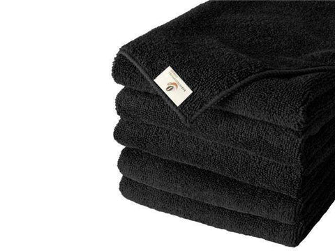 5 Black Microfiber Cloths