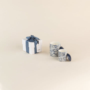 Patterned Candle Gift Box in Blue Wave