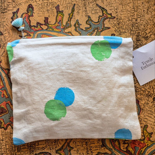 TE Handpainted Linen Clutch