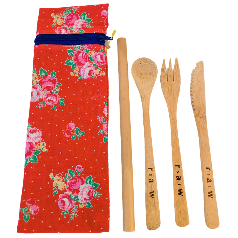 TE Travel Pouch with Natural Bamboo Cutlery Set + Straws