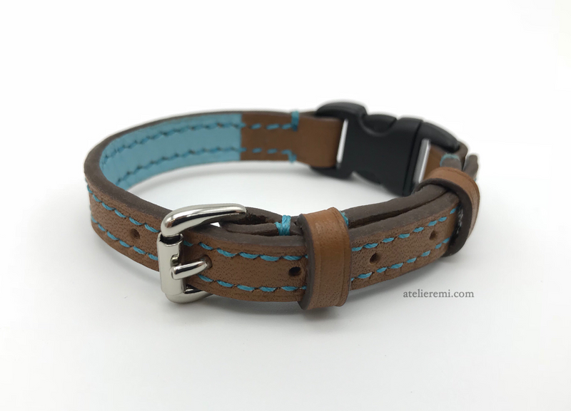 No. P01C | Dapper Cat Collar (Cowhide Lined Interior)