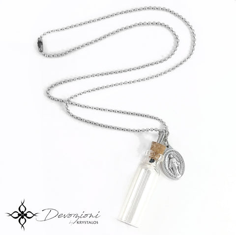 Saint Medal Necklace with Small Holy Water Bottle - DEVOZIONI