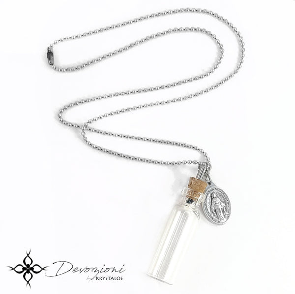 Jesus, Mary and the Holy Spirit - DEVOZIONI Medal Necklace with Small Holy Water Bottle