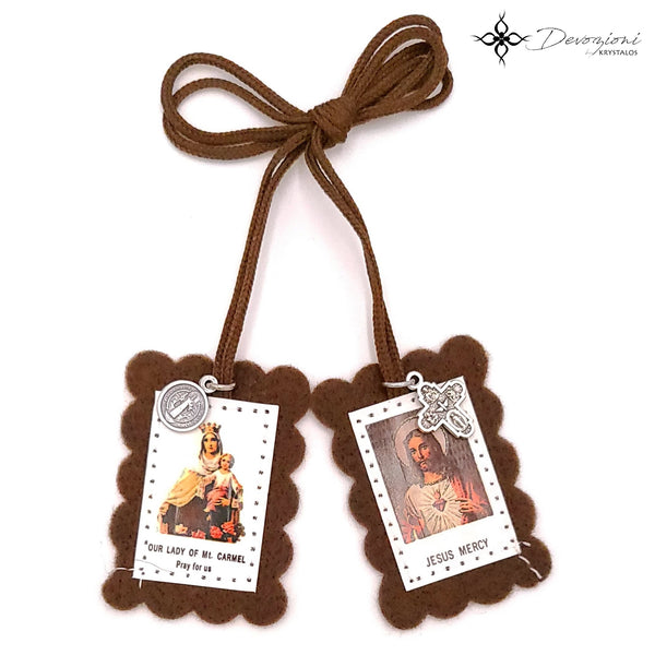 Virgin of Carmel Scapular (Brown Scapular) with Medals