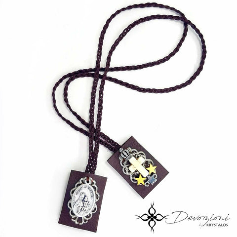 Virgin of Carmel - Hand Embroidered Scapular in Semiprecious Stones by DEVOZIONI