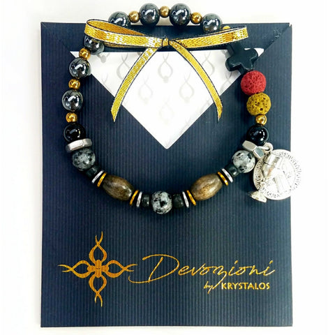 Saint Benedict Cross - Men's DEVOZIONI Rosary Bracelet