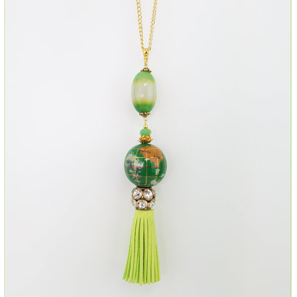 The Travelers - Necklace and Earrings Set (Green)