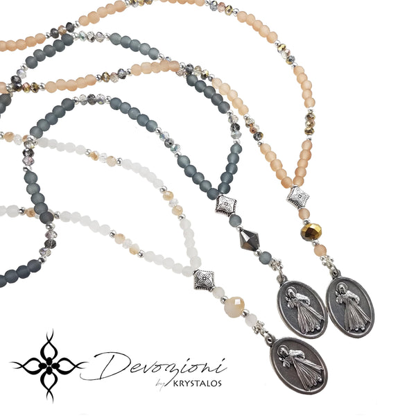 CRYSTAL MEDAL NECKLACE BY DEVOZIONI (CHOOSE YOUR DEVOTION)