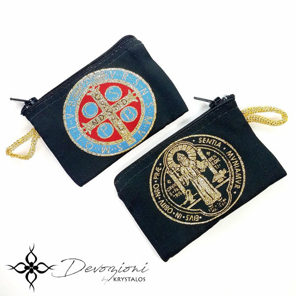 Saint Benedict Embroidered Rosary Pouch Purse