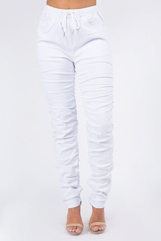 White High Waist Ruched Stretch Denim Joggers(REG & CURVY)