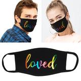 """Loved"" Rainbow Foil Face Mask"