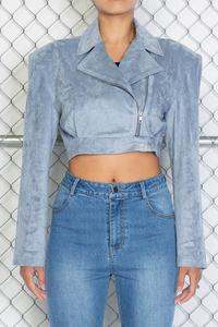 Suede Crop Power Sleeve Crop Jacket - Baby Blue