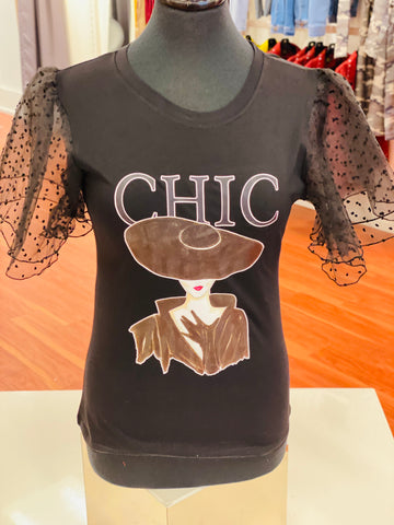 Chic Madam Lace Sleeve Graphic T Shirt (REG & CURVY) - Black