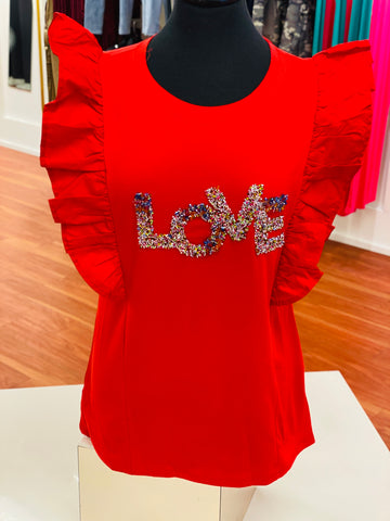 Curvy Beaded Love Ruffle Sleeve Shirt - Red