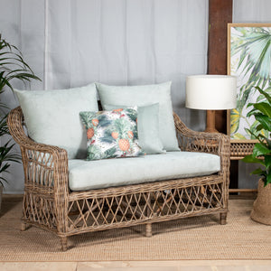 The Napa collection is a generously-sized, and comfortable group of furniture that will live just as happy under the verandah, on the balcony or the covered alfresco.  The easy-living nature of the Napa collection looks equally well in different styles, from the hamptons to french rustic, simply by complementing each piece with your own personal collection.  Constructed from natural rattan in a tight weave with cross-weaved sides and bottom.  Armchair and 2 seater available in kubu grey or whitewash finishe