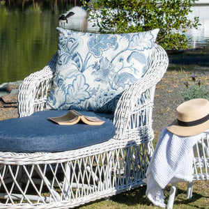 Napa Daybed/Lounger White Distressed Blue Floral Cushion