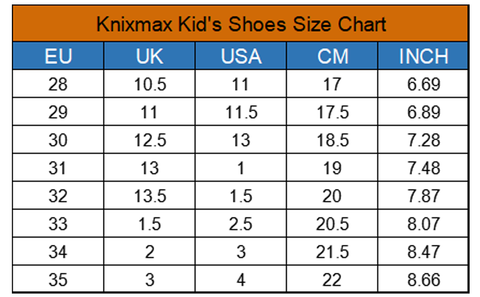 Knixmax Kids Shoes Size Chart