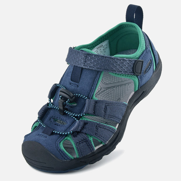 riemot Kids Breathable Closed Toe Sport Sandal Navy Summer Beach Walking Shoes