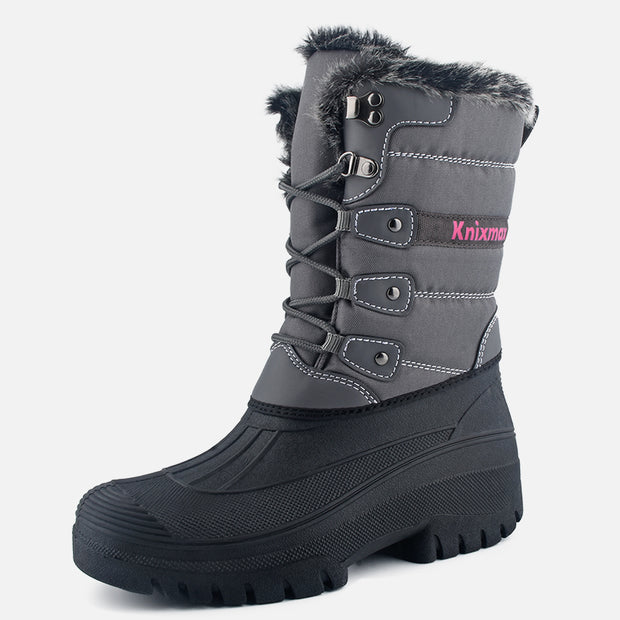 Knixmax Women's Snow Boots Grey Waterproof Sole Fur Lined Winter Boots