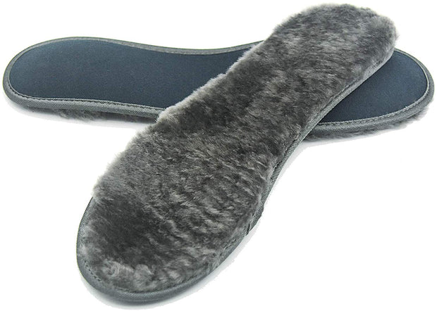 riemot Sheepskin Insoles for Men Women and Kids, Grey Wide, Super Thick Premium Lambswool Insoles for Wellies Slippers Boots