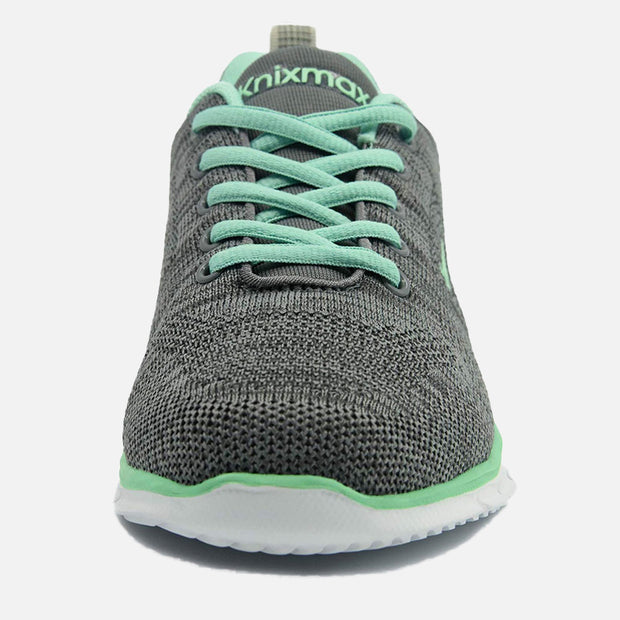 Knixmax Women's Knit Trainers, Grey Green, Lightweight, Running Gym Fitness Sports Walking Shoes