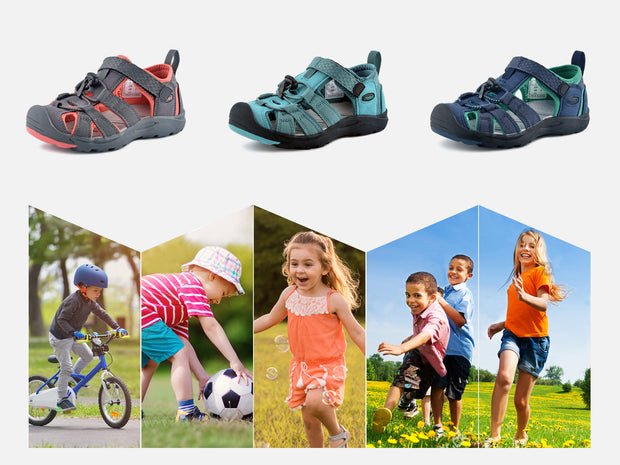 riemot Kids Breathable Closed Toe Sport Sandal Coral Summer Beach Walking Shoes