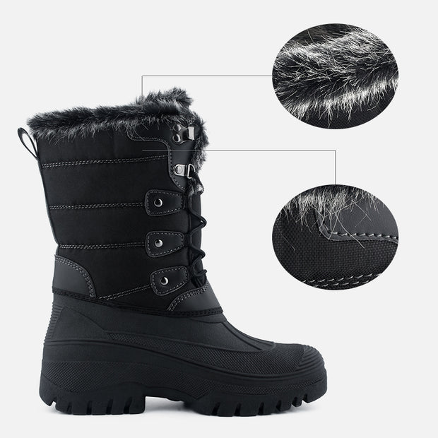 Knixmax Women's Snow Boots Black Waterproof Sole Fur Lined Winter Boots
