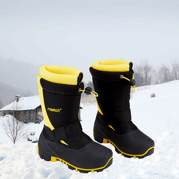 riemot Kids Snow Boots, Black Yellow, Waterproof Warm Shoes