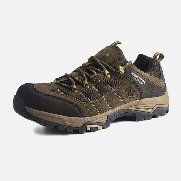 Knixmax Men's Trekking Hiking Shoes, Brown, Low Rise Waterproof Walking Shoes, Outdoor Sport Trainers