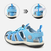 Knixmax Women's Closed Toe Sandals Light Blue Wide Fit Sports Summer Shoes