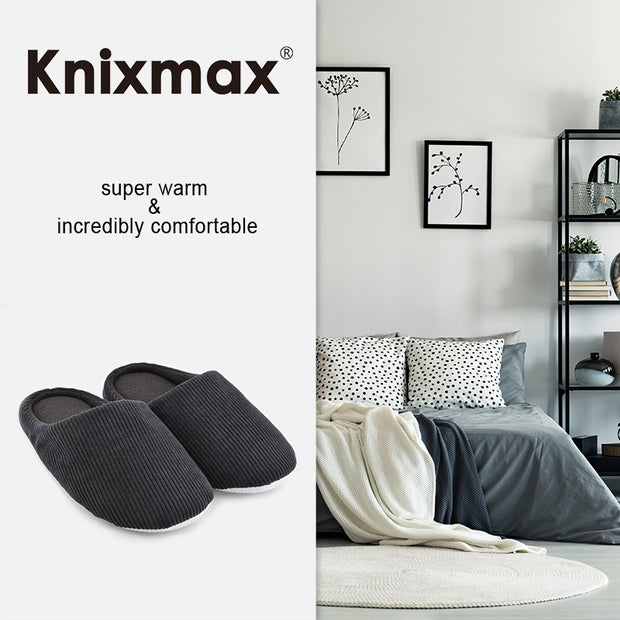 Knixmax Men's Slippers Memory Foam Black Winter Slippers for Indoor Travel Hotel