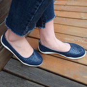 Knixmax Women's Leather Flats Loafers Navy Blue Closed Toe Sandals