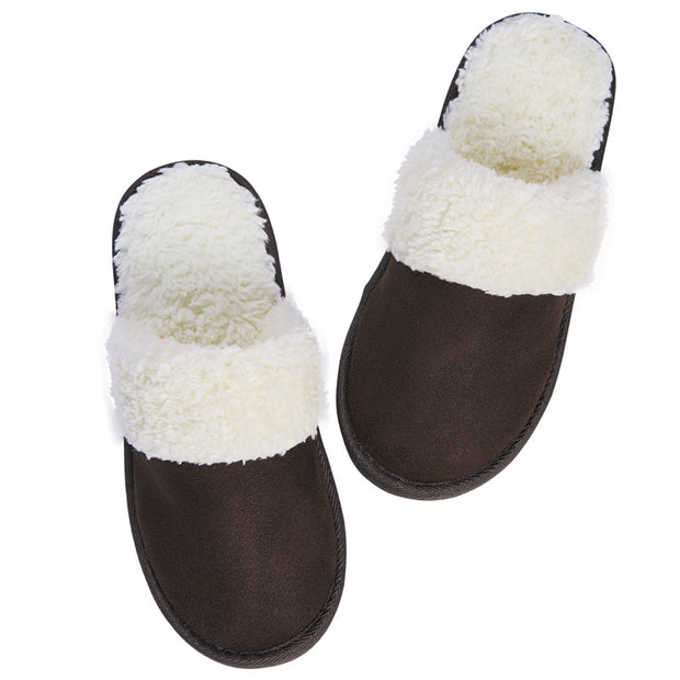 riemot Men's Slippers Memory Foam Dark Brown Winter Slippers for Indoor Travel Hotel
