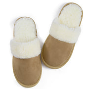 riemot Men's Slippers Memory Foam Light Brown Winter Slippers for Indoor Travel Hotel