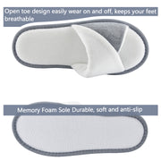 TIESTRA House Slippers Grey White Women Warm Memory Foam Soft Winter Slippers