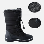 Womens Slip On Waterproof Rubber Sole Ladies Flat Winter Walking Shoes Fur Lined Warm Snow Boots