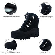 riemot Men's Winter Boots Waterproof Sole Black Snow Boots