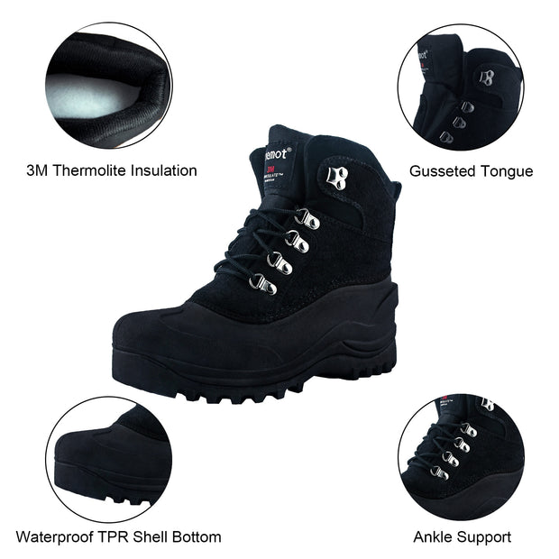 riemot Women's Winter Boots Waterproof Sole Black Snow Boots