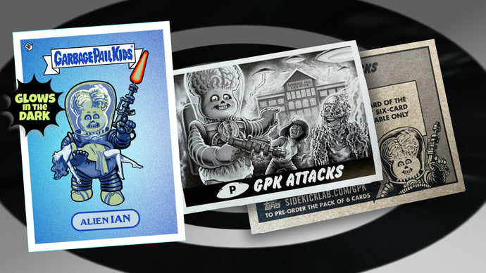 Garbage Pail Kids - Mars Attacks -  Alien Ian - Limited Edition GLOW IN THE DARK Enamel Pin and Exclusive Promo Trading Card