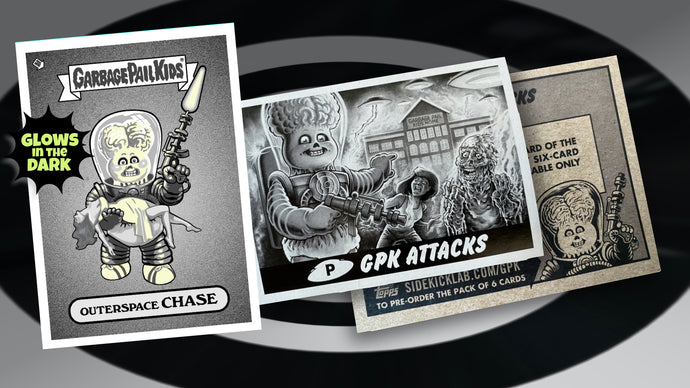 Garbage Pail Kids - Mars Attacks -  Outerspace Chase - Limited Edition GLOW IN THE DARK Enamel Pin and Exclusive Promo Trading Card