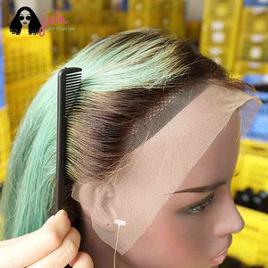 Green Natural Hairline Lace Front Wigs With Baby Hairline 13*4 150% Density -- JVH