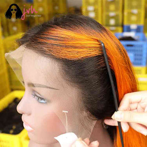 Orange Free Part Lace Wig For Sale 13*4 150% Density -- JVH