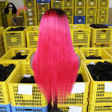 Pink Natural Looking Lace Front Wigs For Women 13*4 150% Density -- JVH