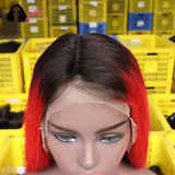 Red Long Lace Front Wigs For Sale 13*4 150% Density -- JVH
