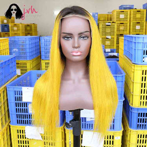 Yellow 13X4 Lace Front Wig 13*4 150% Density -- JVH
